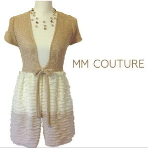 🆕MM COUTURE Gold Tie Ruffled Long Cardigan NWT